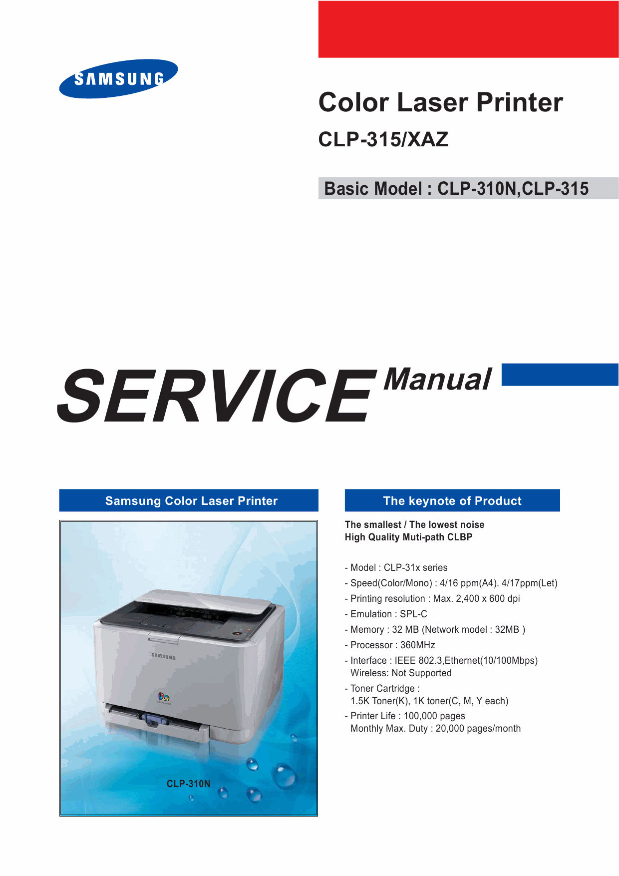 Samsung Color-Laser-Printer CLP-315 Parts and Service Manual-1